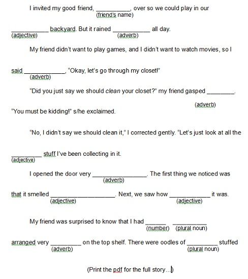 printable mad libs for kids and other games