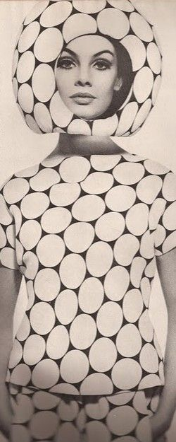 "space inspired ""helmet"", Pierre Cardin, 1967 I find the patterns here interesting they are quite different from the majority of plain garments of Pierre carding space age influenced garments."