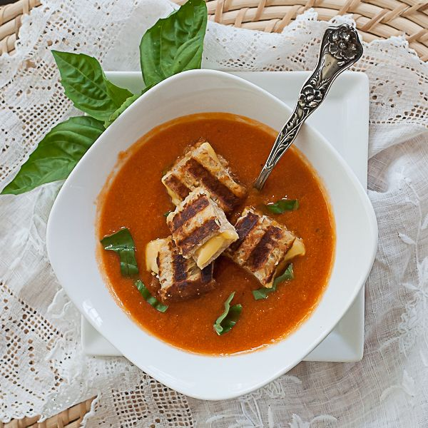 Tomato Soup with Grilled Cheese Croutons | Soups on! | Pinterest