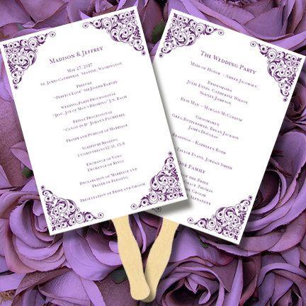 printable wedding program fan template isabella editable microsof