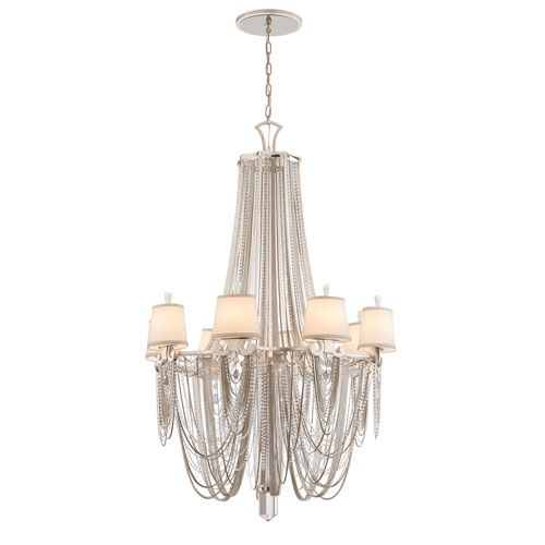 Corbett Flirt Modern Silver Leaf With Polished Stainless Accents Eight Light Chandelier On SALE