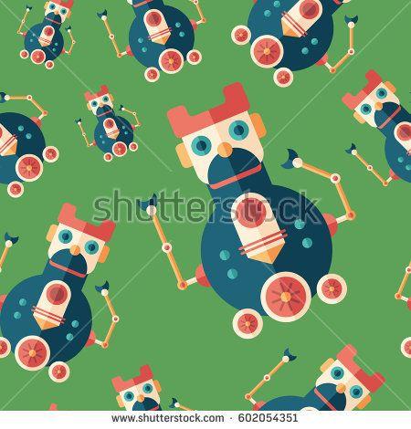 Robot locomotive flat icon seamless pattern. #robots #robotics #vectorpattern #patterndesign #seamlesspattern
