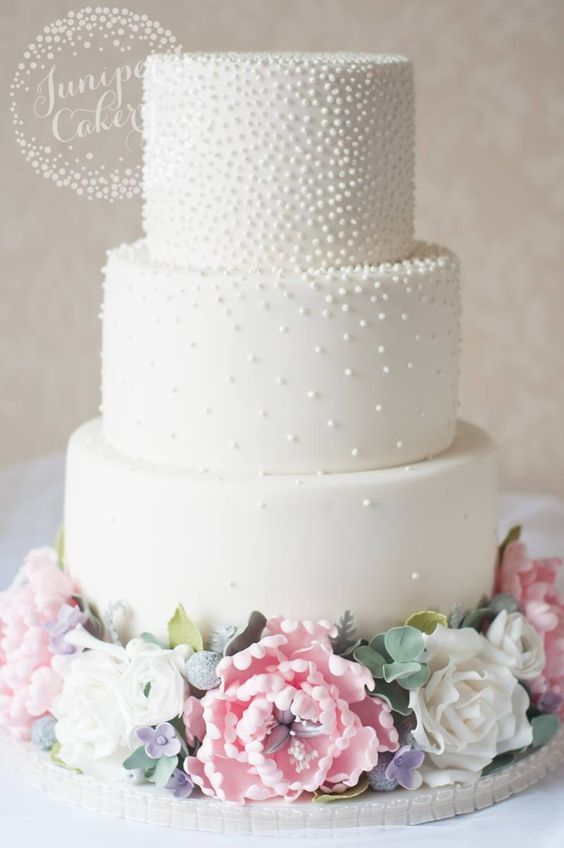 Classic three tier studded white wedding cake; Featured Cake: Juniper Cakery