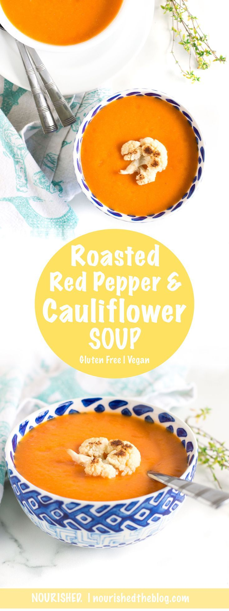 Vegan Roasted Red Pepper Cauliflower Soup is rich and creamy without the dairy or the gluten! This gluten free roasted vegetable soup is easy to make with roasted red peppers, cauliflower, onions, garlic and thyme and could be the perfect addition to any weeknight dinner. Warm up with soup all fall long!