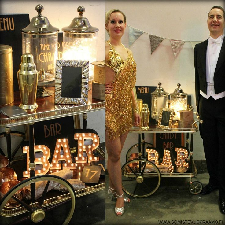 Great Gatsbyn henkeen sopiva vintage -vaunu, eli GGC (Great Gatsby Cart) on täynnä 20- ja 30-luvun henkeä. www.somistevuokraamo.fi