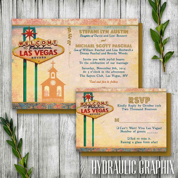 Las Vegas Wedding Invitation Set With Chapel, Destination Wedding Invitation  Printable, Wedding Invitation With Elvis, Las Vegas Theme