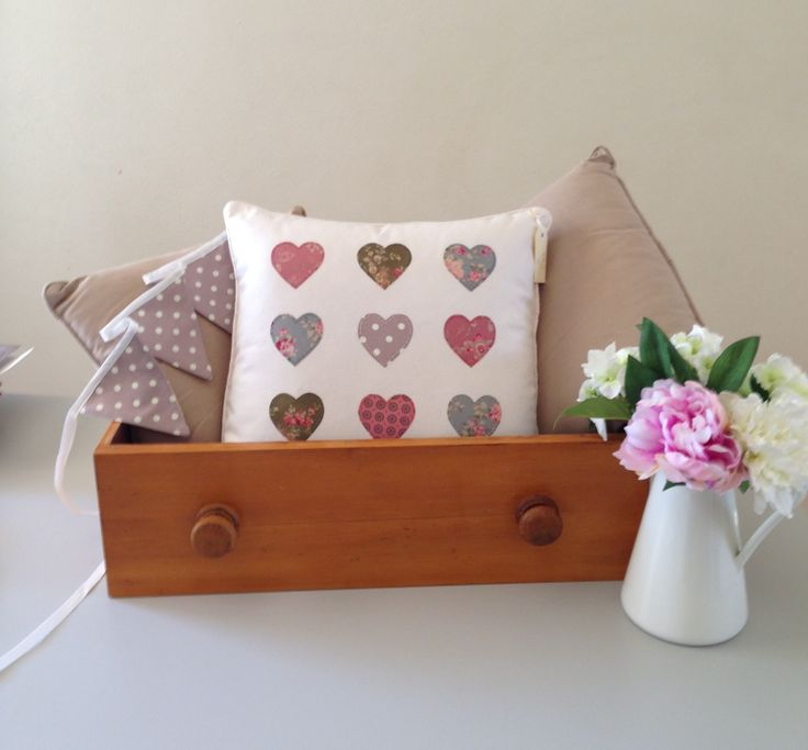 Handmade cushion with matching bunting. Sold