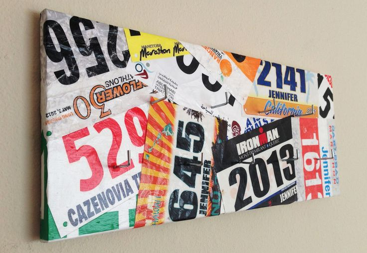 DIY finisher's medal display. Something to do with all those bib numbers my runners' have