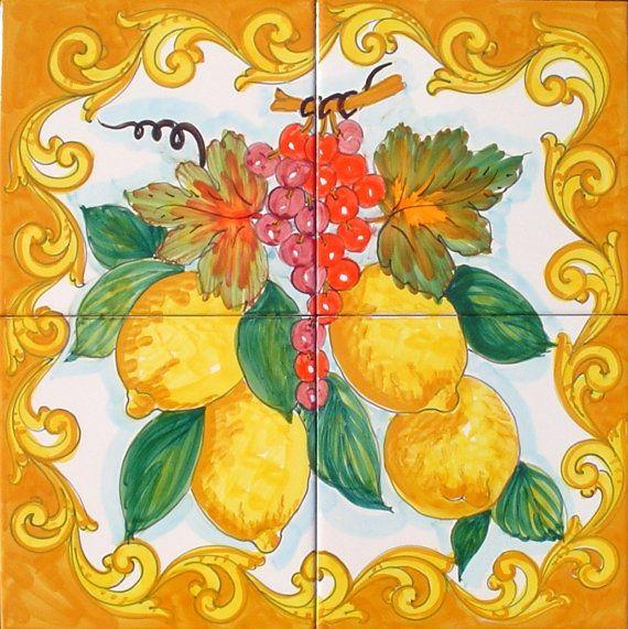 Hand Painted Tile Mural   Grape And Lemons   Baroque Style   Kitchen Tiles    Wall Tiles   Backsplash Mural   Kitchen Design