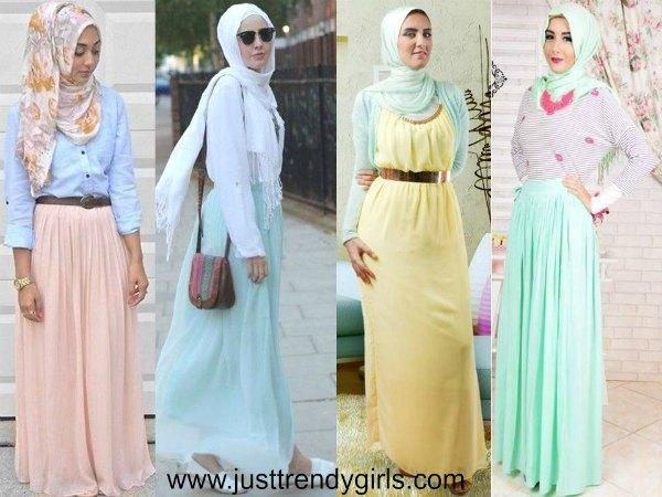 pastel hijab dresses, pastel skirts, Hijab outfits in pastel colors http://www.justtrendygirls.com/hijab-outfits-in-pastel-colors/