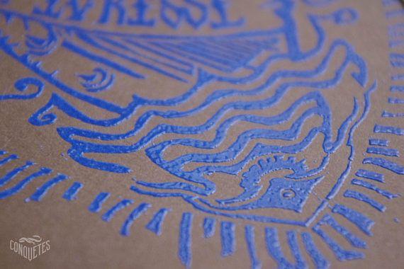 Carte Linogravée et embossée