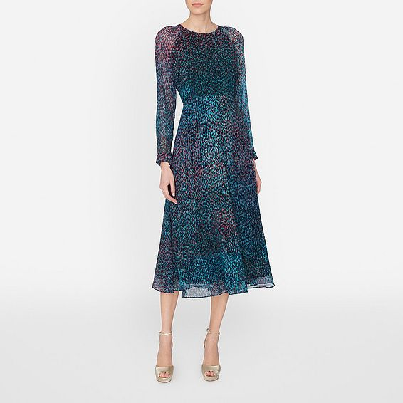 An eye-catching dress, timeless in its style and fashion forward in its execution. Addison is ideal for events, both formal and casual, with its jewel-toned print, feminine transparent sleeves and ankle grazing length. A dress you ll wear for seasons to come.