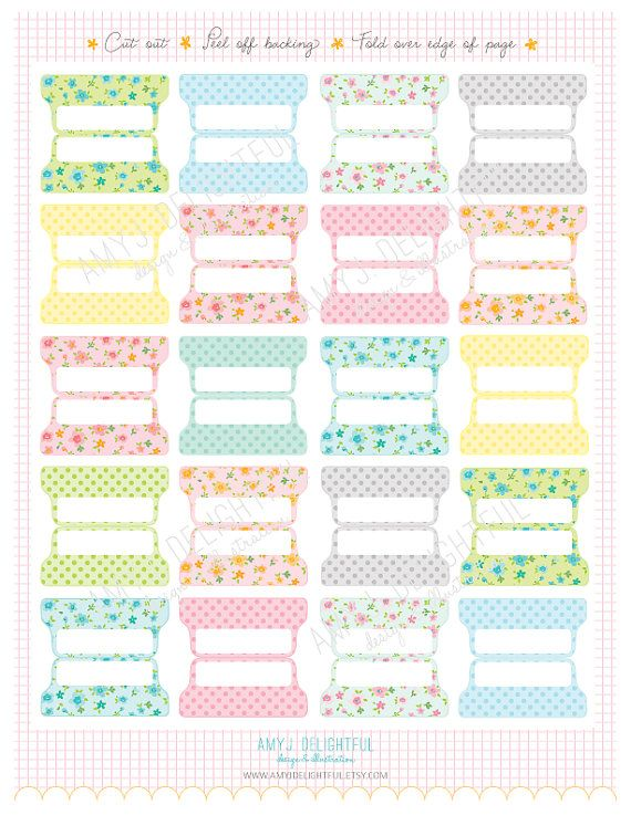 Beautiful and Functional! SMALL SIZE Printable Blank Planner File TABS  by amyjdelightful
