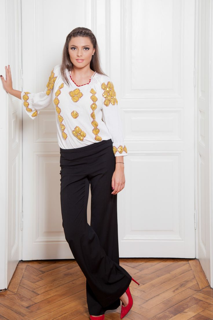 A special and elegant outfit with a traditional Romanian blouse. #florideie #fashion #style #designer #romaniandesign #unique #handmade #gold #elegance #special