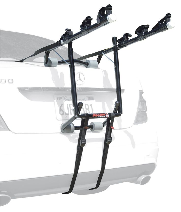 This Deluxe Trunk Mounted Bike Carrier by Allen holds up to  three bikes and is ideal for weekend biking trips with friends and  family. Compatible with most sedans, hatchbacks, minivans, and  SUVs, this rack features 15-inch long carry arms and a tie-down   system to securely holds and protect each bicycle. The rack  comes fully assembled, so it can be set up and attached quickly.