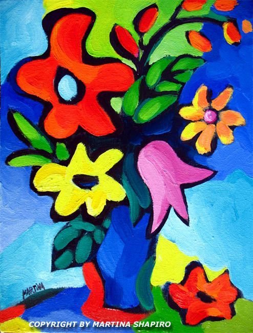 Floral Expression On Blue, original oil painting by artist Martina Shapiro, abstract flowers, modern flowers, contemporary still life
