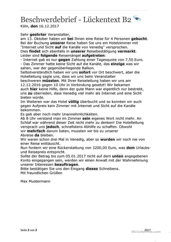 Beschwerdebrief La Ckentext B2 Mit La Sungen Deutsch Lernen Brief Deutsch Brief