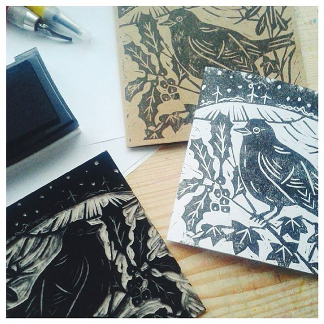 Turned out alright. The soft lino was easier to cut that the stuff we used back in school!  #blockprinting, #linocut, #linocutting, #christmascard, #handmadechristmas, #blackbird, #bird, #hedgerow.