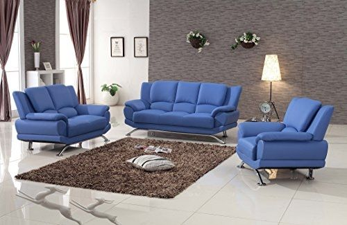 Preview Milano Contemporary Leather Sofa Set (BLUE) by Furniture_TheBest