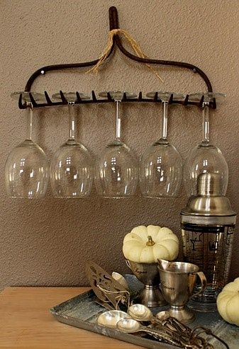 Repurpose an old garden rake as wine glass holder!!!