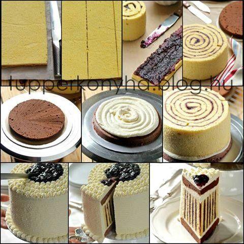 Csokoládés áfonyás rolád torta