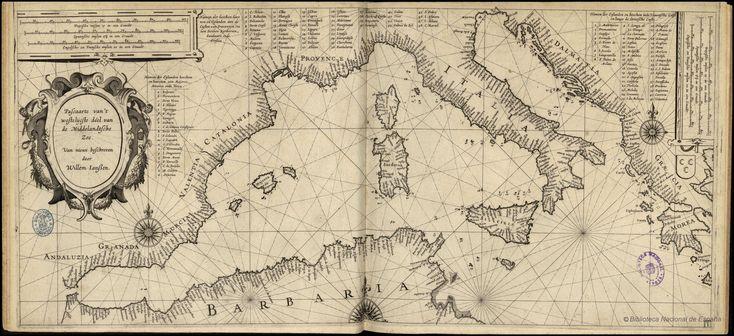 Una carta del Mediterráneo levantada por el  cartógrafo alemán Blaeu en 1618