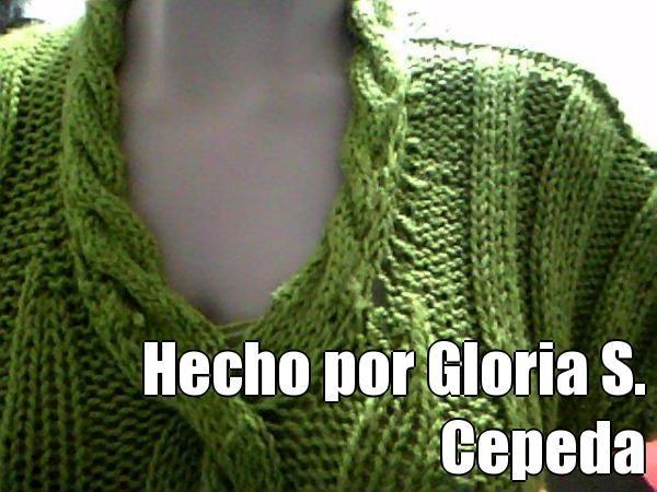 Hecho por Gloria S. Cepeda (courtesy of @Pinstamatic http://pinstamatic.com).  Blusa para mi hija, en dos agujas, lana grosor medio, con trenzas en el centro-frente y cuello.  Sacada de la web.