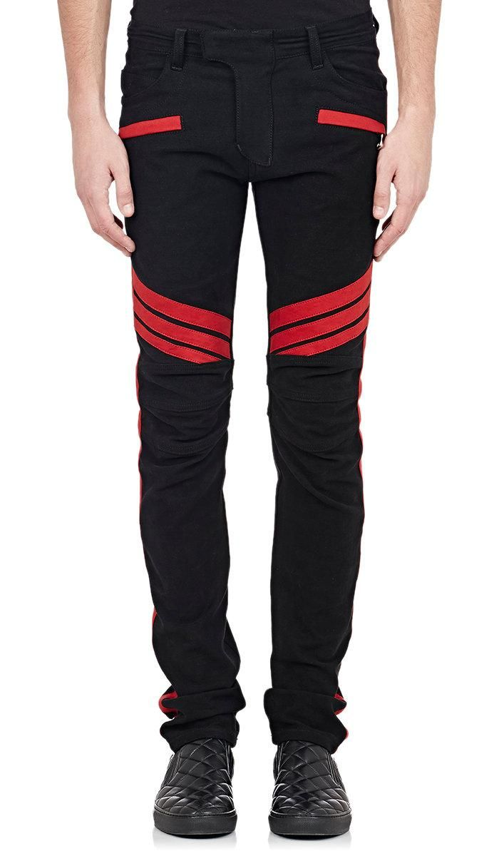 Online Cheap New Winter Balmain Jeans Male Young Black Stitching Brushed Slim Pants Feet Size 28 40 By Shishang2016 | Dhgate.Com