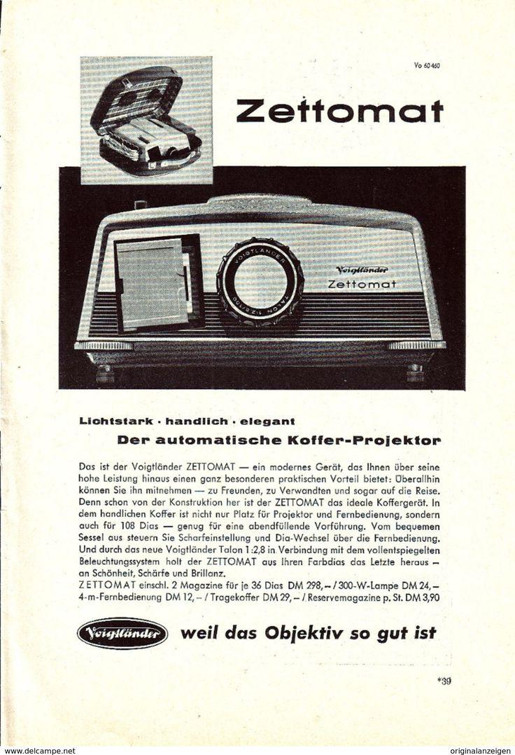 Werbung - Original-Werbung/Anzeige 1960 - VOIGTLÄNDER ZETTOMAT DIA - PROJEKTOR - ca. 160 x 230 mm