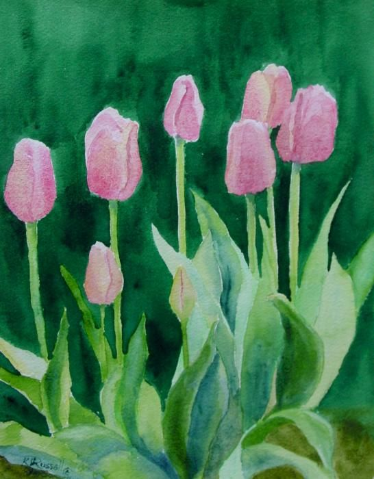 watercolor pink tulips beautiful flowers garden art pink tulips original watercolor painting - Simple Flower Garden Paintings