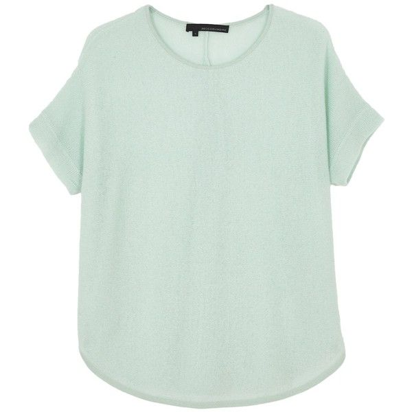 360 SWEATER Byrdie Pullover in Mint found on Polyvore featuring tops, sweaters, mint, cashmere sweater, short sleeve cashmere sweater, sweater pullover, cashmere pullover and ribbed sweater