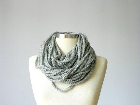 Ganchillo bufanda Infinity cadena, collar, accesorios de mujeres gris - hecho a mano neckwarmer otoño - invierno, otoño - moda invierno