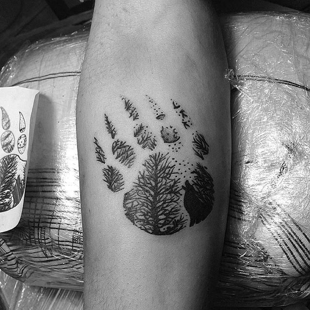 Forest Tree Bear Claw Inner Forearm Small Male Tattoos