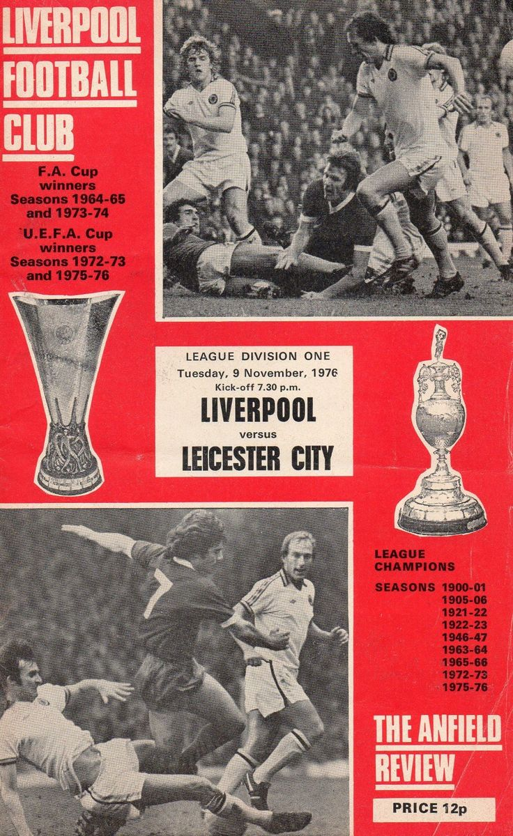 Liverpool 5 Leicester City 1 in Dec 1976 at Anfield. The programme cover #Div1