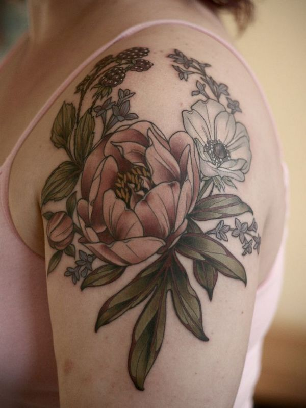 25 Beautiful Peony Tattoo Flower Designs and Many Meanings Check more at http://tattoo-journal.com/25-beautiful-peony-tattoo-designs/