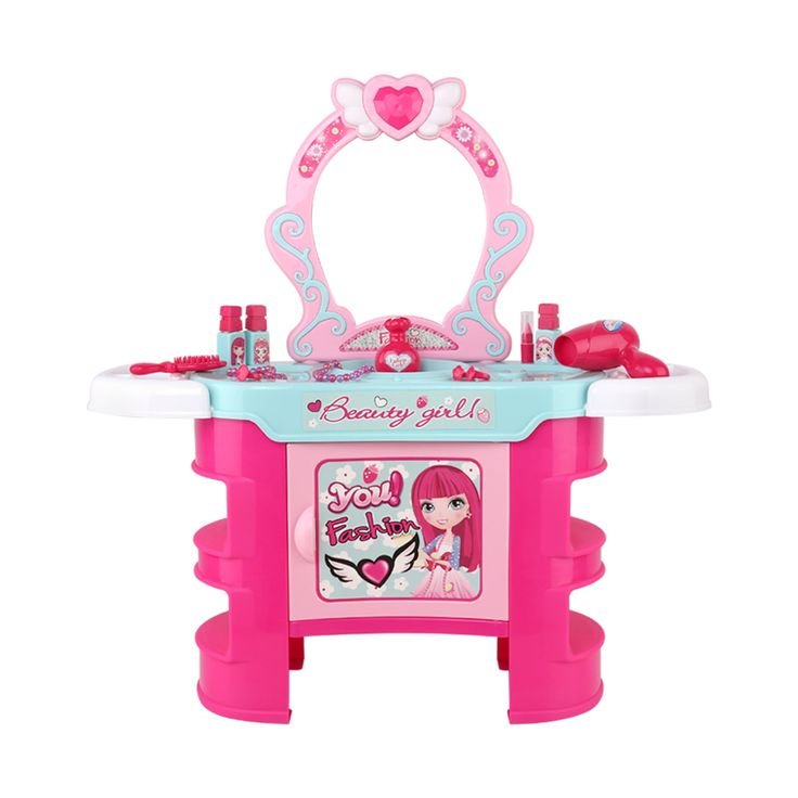 Keezi Kids Makeup Desk Spielset – Pink   – Kids Pretend Toys