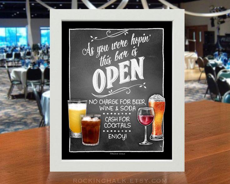 Open Bar/Cash Combo Sign Illustrated Chalk Style von RockinChalk