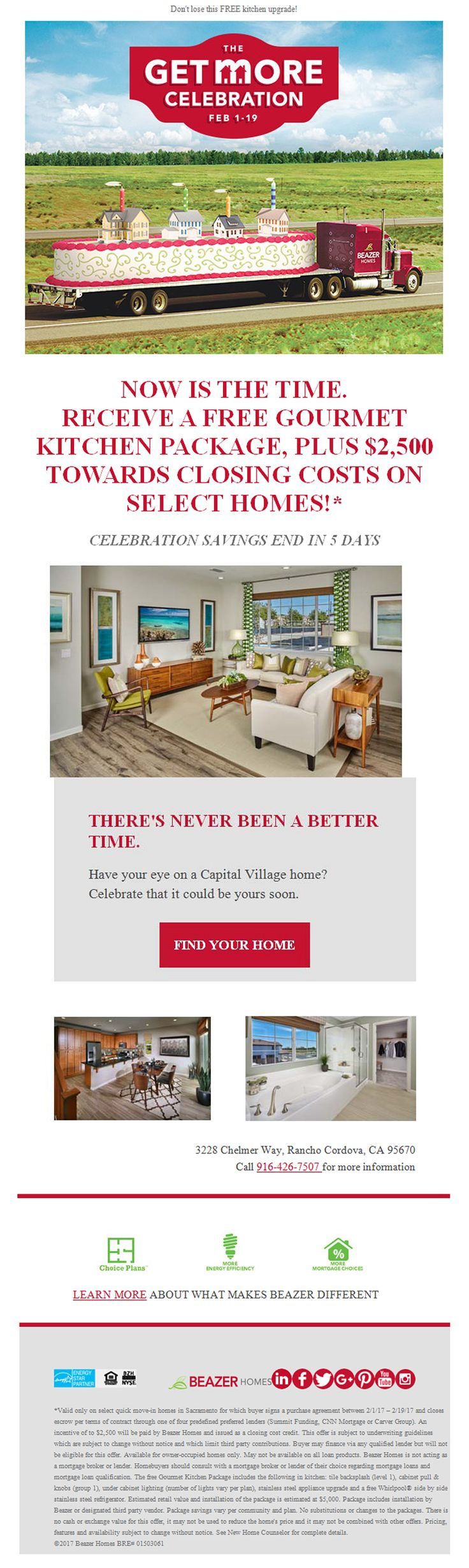 New Homes fro Sale in Rancho Cordova, California  Major sales event. Going on now!  Free Gourmet Kitchen Package, Plus $2,500 Toward Closing Costs on Select Homes.  https://www.beazer.com/search-CA-sacramento
