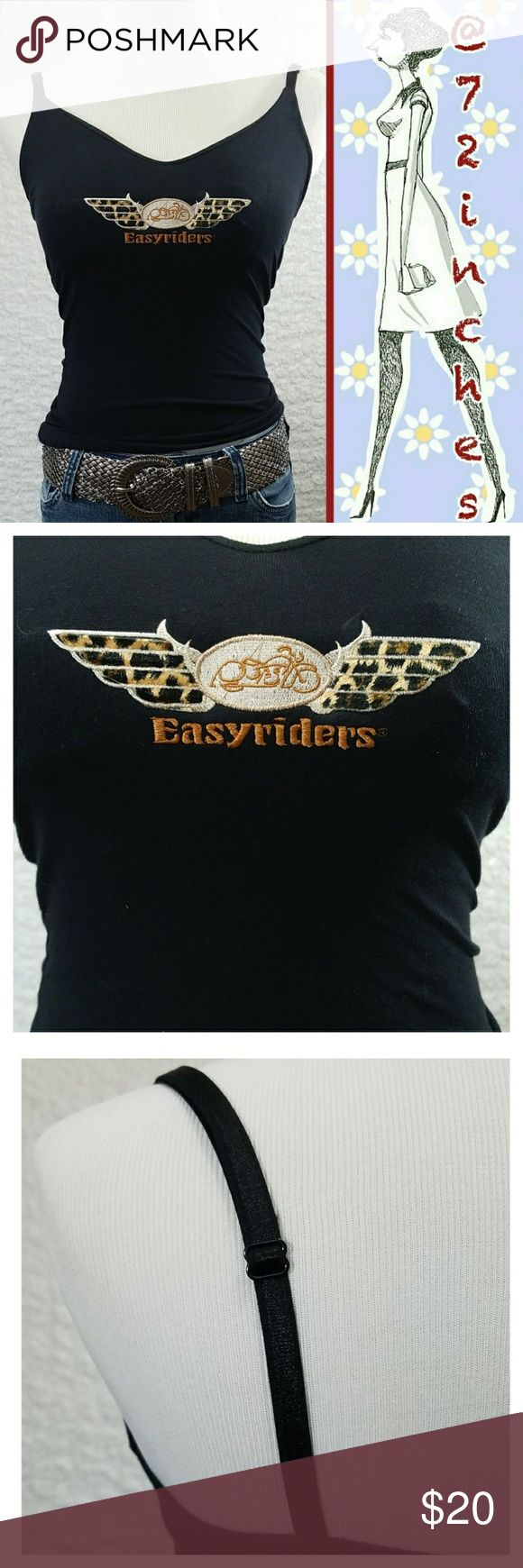 """Easyriders® Rodeo Tour Embroidered Camisole V-neck camisole with embroidered Easyriders® logo, built in shelf bra and adjustable straps.  100% cotton, machine W&D  This is sized as a women's medium but it is not. Extra small is more my best guess, please go by the measurements.  Lying flat: Bust 12.5"""" Length 21"""" Southern Steel Tops Camisoles"""