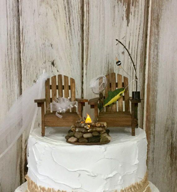 Fishing Cake Topper Camping Trip By Sugarplumcottage Sand CakeHunting CakesFishing TripsWedding ToppersWedding