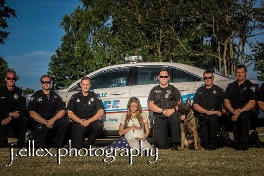 The widow of Greenville police Officer Allen Jacobs, who was shot and killed earlier this year, is sharing heart-wrenching maternity pictures.