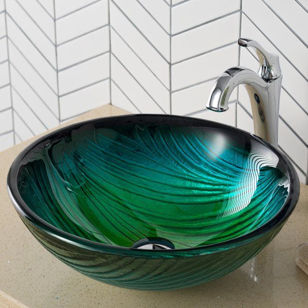 Nei Glass Circular Vessel Bathroom Sink Glass Bathroom Sink
