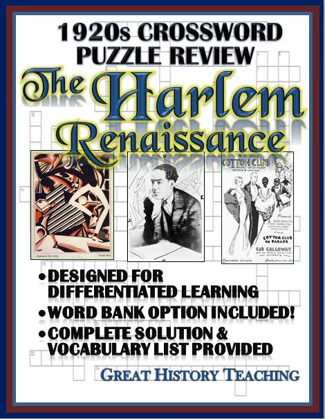 This Harlem Renaissance Crossword Puzzle Review is a great ...