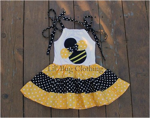Custom Boutique Clothing Black Yellow Bumble Bee Tiered Dress Birthday Girl Dots