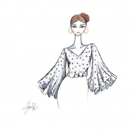 Blusa mangas largas de capas. #moda #flamenca #patrones #volantes #lunares #sketch #dibujo #boceto #pintura #modelo