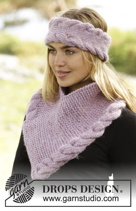 Braided Warmth by DROPS Design. Set consisting of headband and cowl. Free #knitting pattern