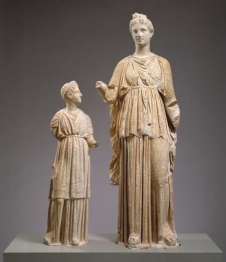 Statue of a young woman and a girl from a grave monument [Greek, Attic] (44.11.2,.3)   Heilbrunn Timeline of Art History   The Metropolitan Museum of Art