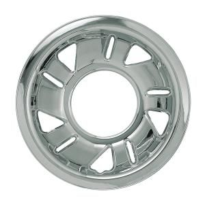 2001 Ford Ranger  Description:Imposter Wheel Skin, 15 In., For Styled Steel Wheel, 5 Triangle, 5 Slots  Dimensions:16.46x4.77x16.46   Discount Price:$44.99   Fits:2001 Ford Ranger Ev  2001 Ford Ranger Edge  2001 Ford Ranger  Finish:Chrome   Part No:IMP-03