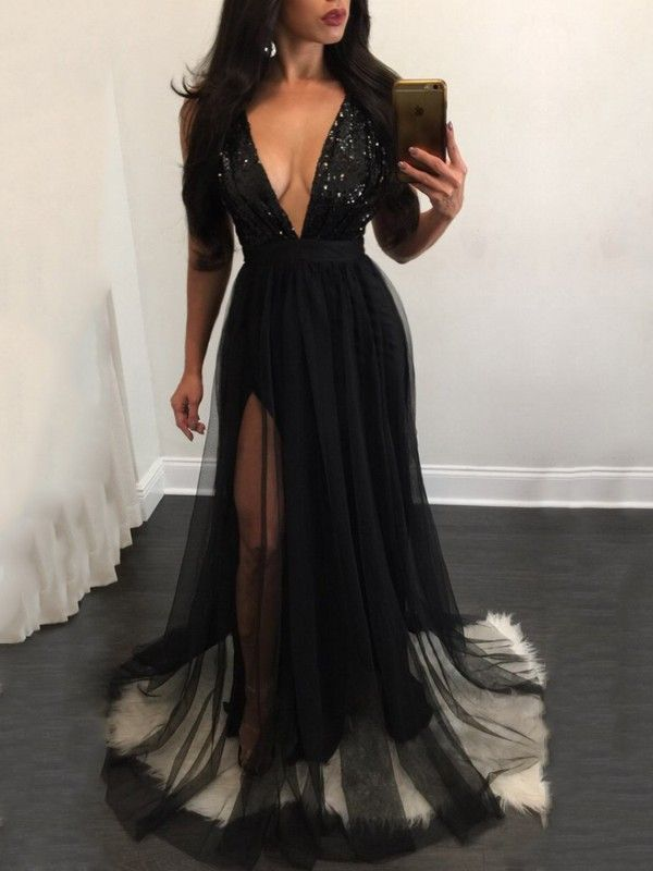b82fa2a30a4c Elegant Sequins Mesh Patchwork Pleated Maxi Prom Dress | My Style ...