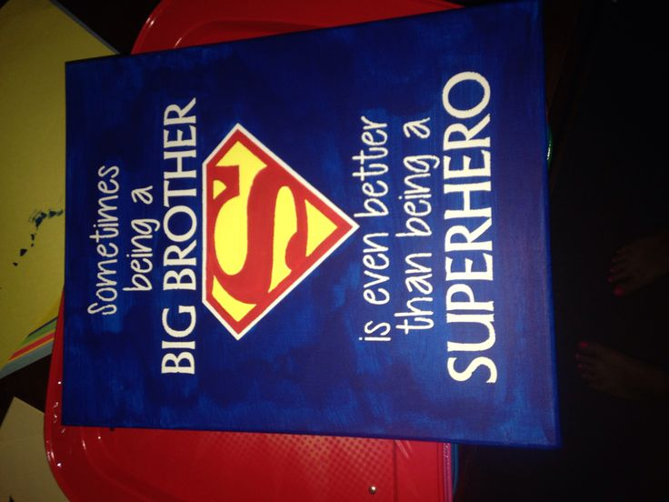"""Canvas, vinyl stencil, & paint! Easy DIY superman sign for our big boy's bedroom! """"Sometimes being a big brother is even better than being a superhero""""  #superman #DIY #sign"""